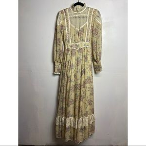 Gunne sax floral lace prairie dress